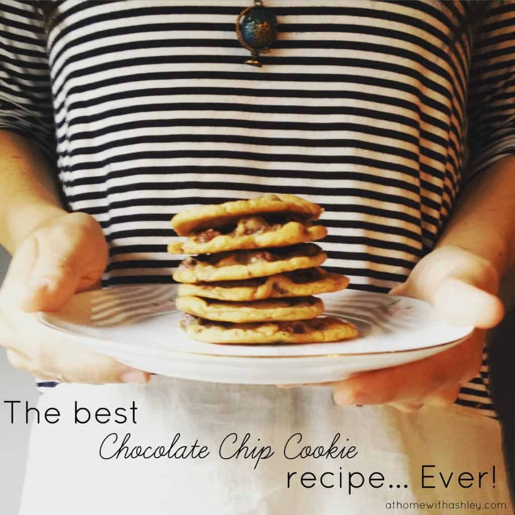 the best chocolate chip cookie recipe ever! Chewy in the inside, crisp on the outside. And easy to make too!
