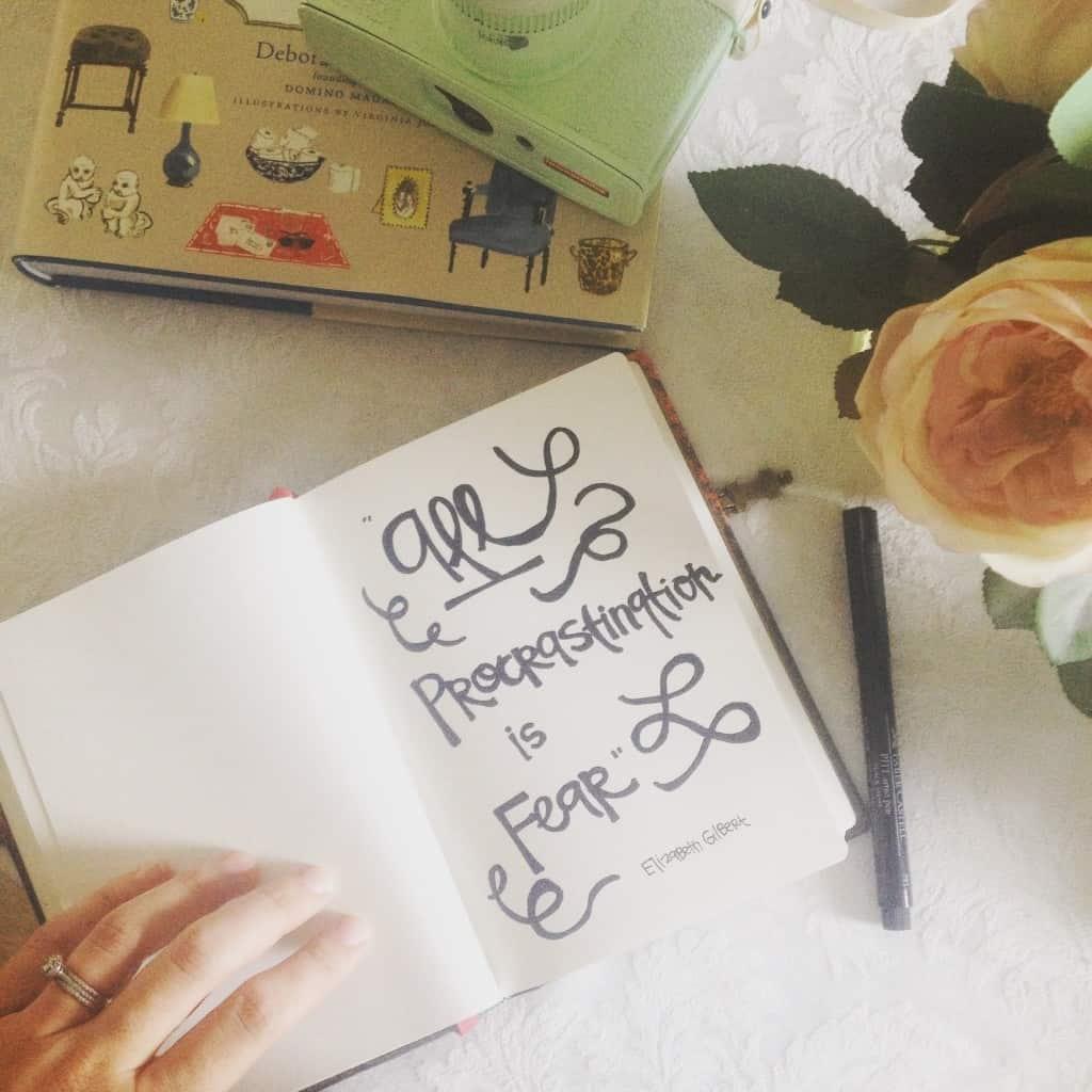 all procrastination is fear- Elizabeth Gilbert