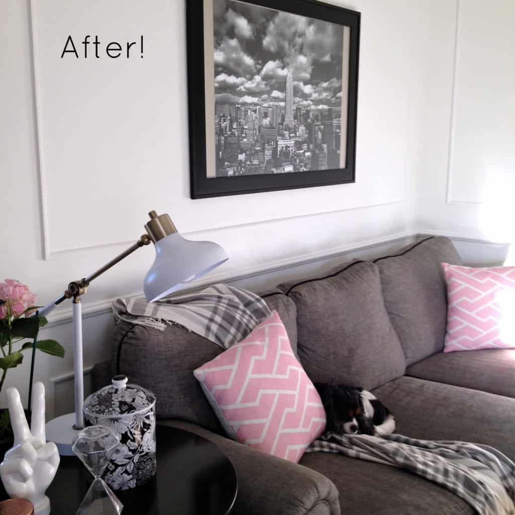 after- how to install picture molding part 2 at home with ashley
