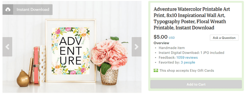 Adventure print from Etsy printable on a budget