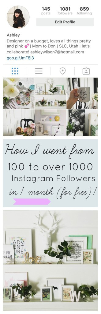 How I went from 100 to over 1000 Instagram followers in 1 month (for free)! athomewithashley