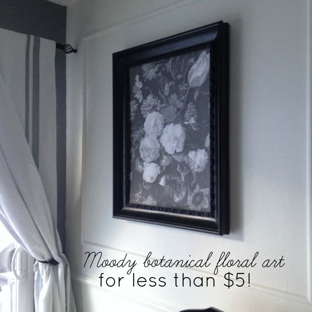 moody botanical floral black and white art for less than $5!