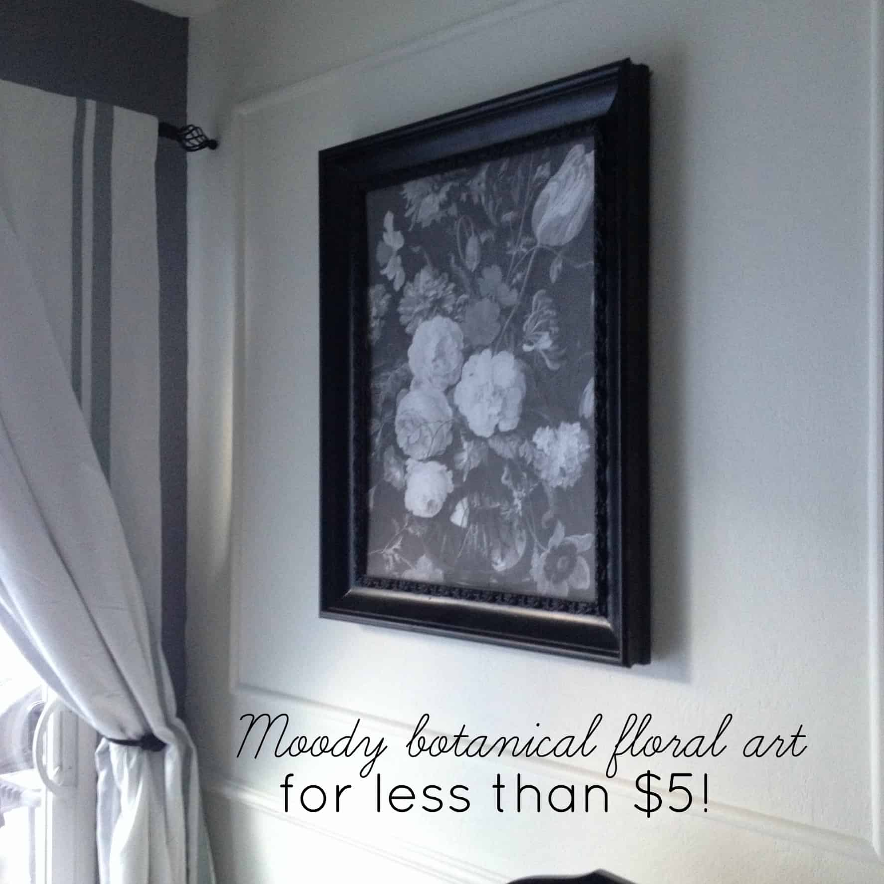 Black floral print wallpaper dark floral wallpaper by ellie cashman - Moody Botanical Floral Black And White Art For Less Than 5