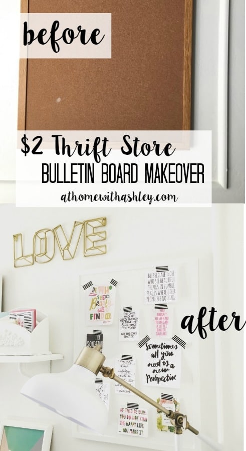 $2 Thrift Store bulletin board makeover- easy and quick