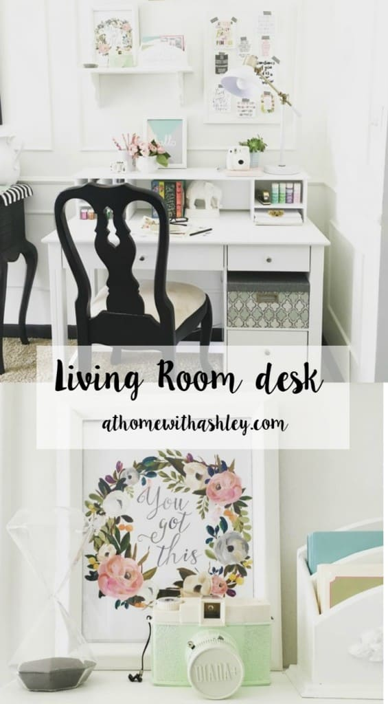 A desk for your living room pretty and functional! athomewithashley