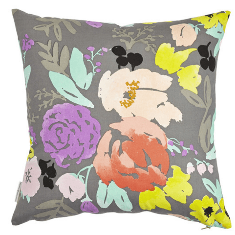 Bridge city blooms pillow in grey caitlin wilson