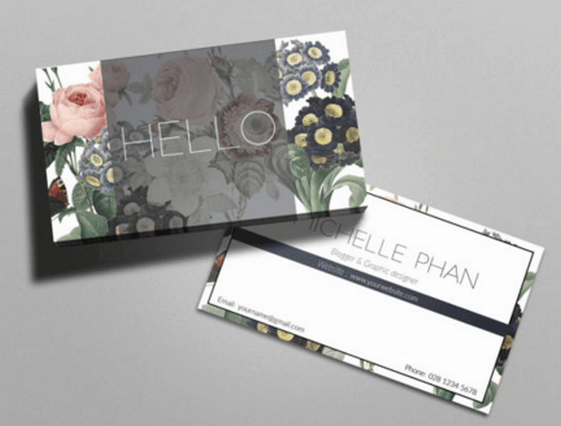 business card template floral etsy