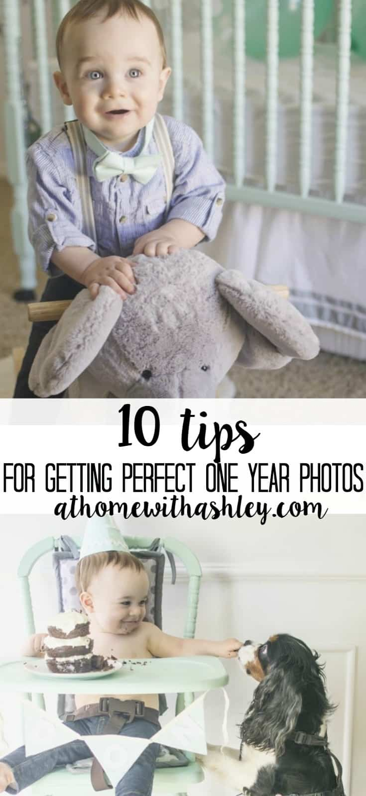 10 tips for getting perfect one year photos. Cake smash, birthday pictures of your cute baby. Mint and grey