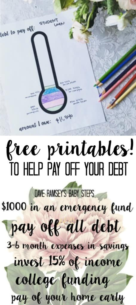 Dave Ramsey's baby steps debt free first steps free printable thermometer