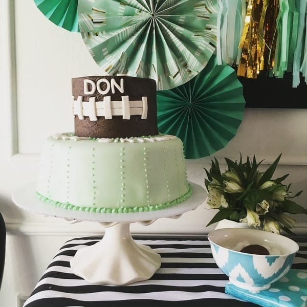 football and mint and gold birthday party for a one year old (1)