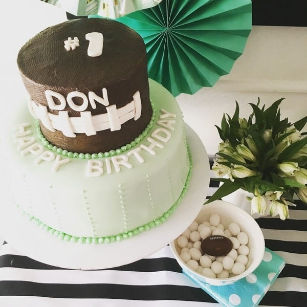 football and mint and gold birthday party for a one year old (10)