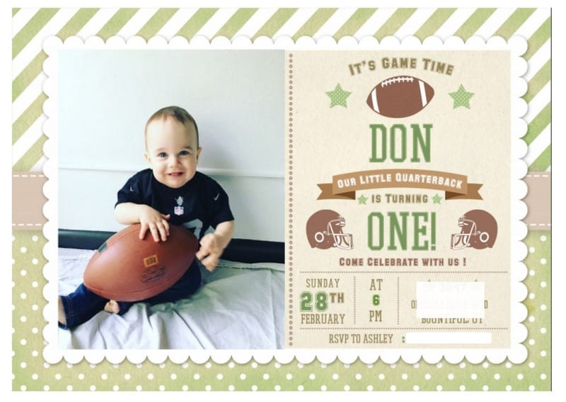 Football Birthday Party Invitation One Year Old