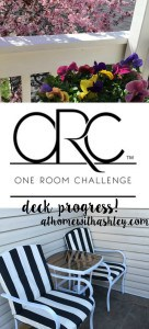 One Room Challenge deck progress how to cover outdoor cushions black and white striped, planting, replacing carpet