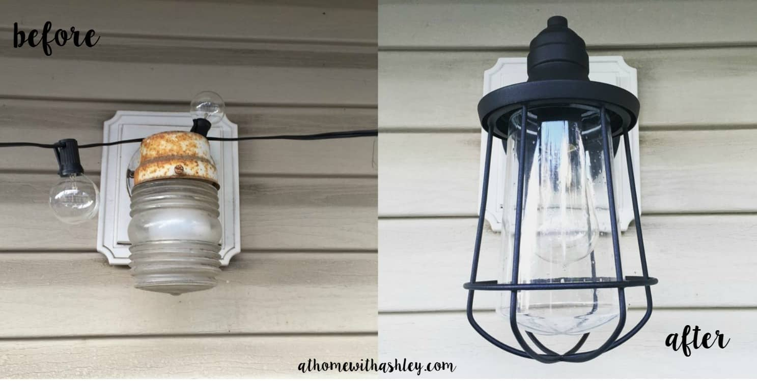 before and after showing what a difference lighting makes to a deck or outdoor space