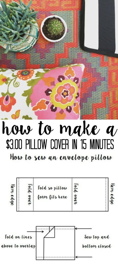 how to make a $3 pillow cover in 15 minutes