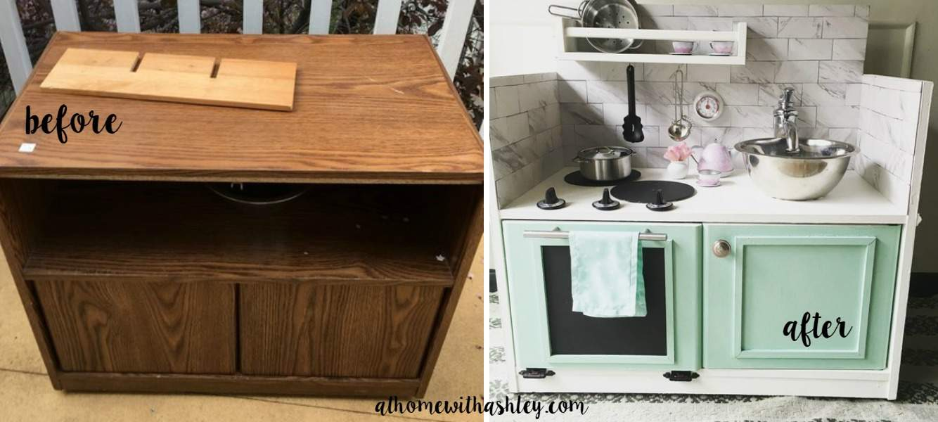 play kitchen from an entertainment center before and after - at home ...