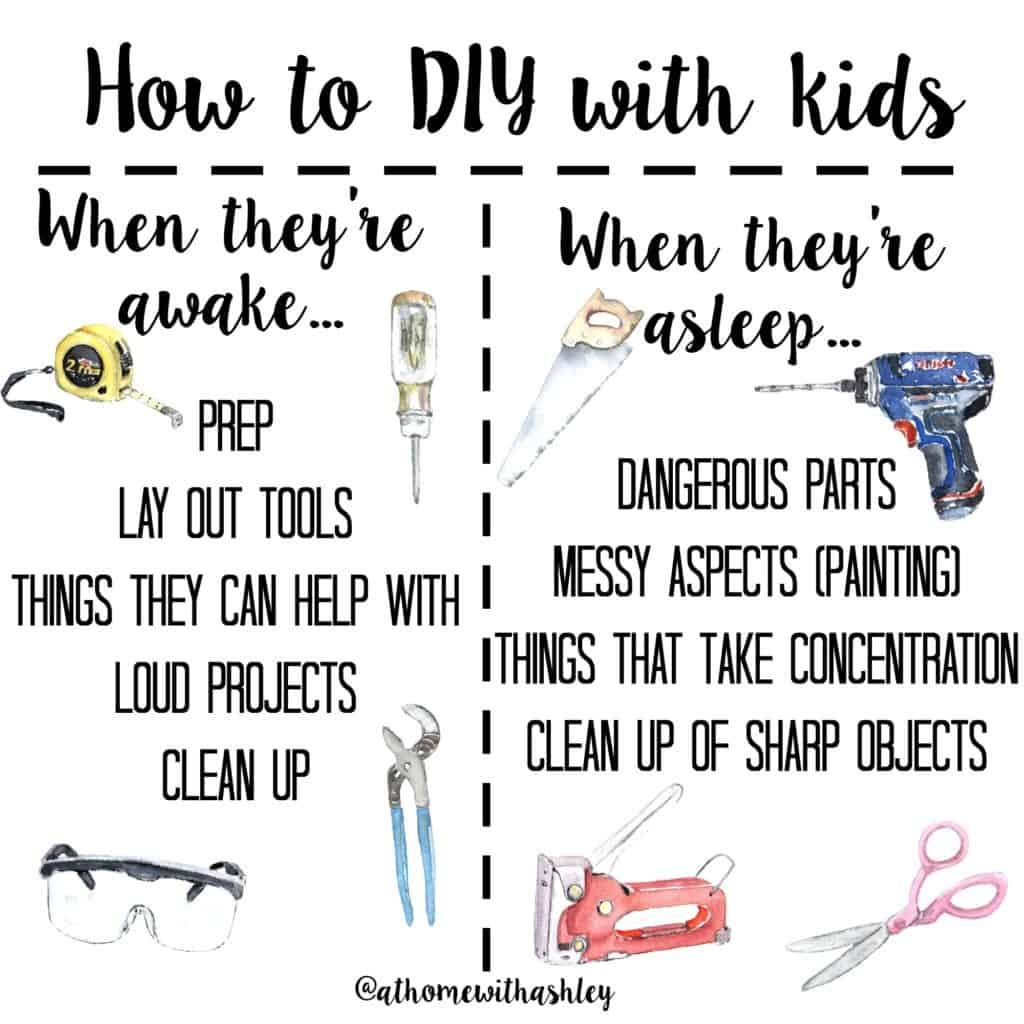 How to DIY with kids. Things to do when they are awake and asleep