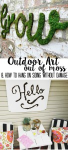 outdoor art out of moss and how to hang on siding without damage