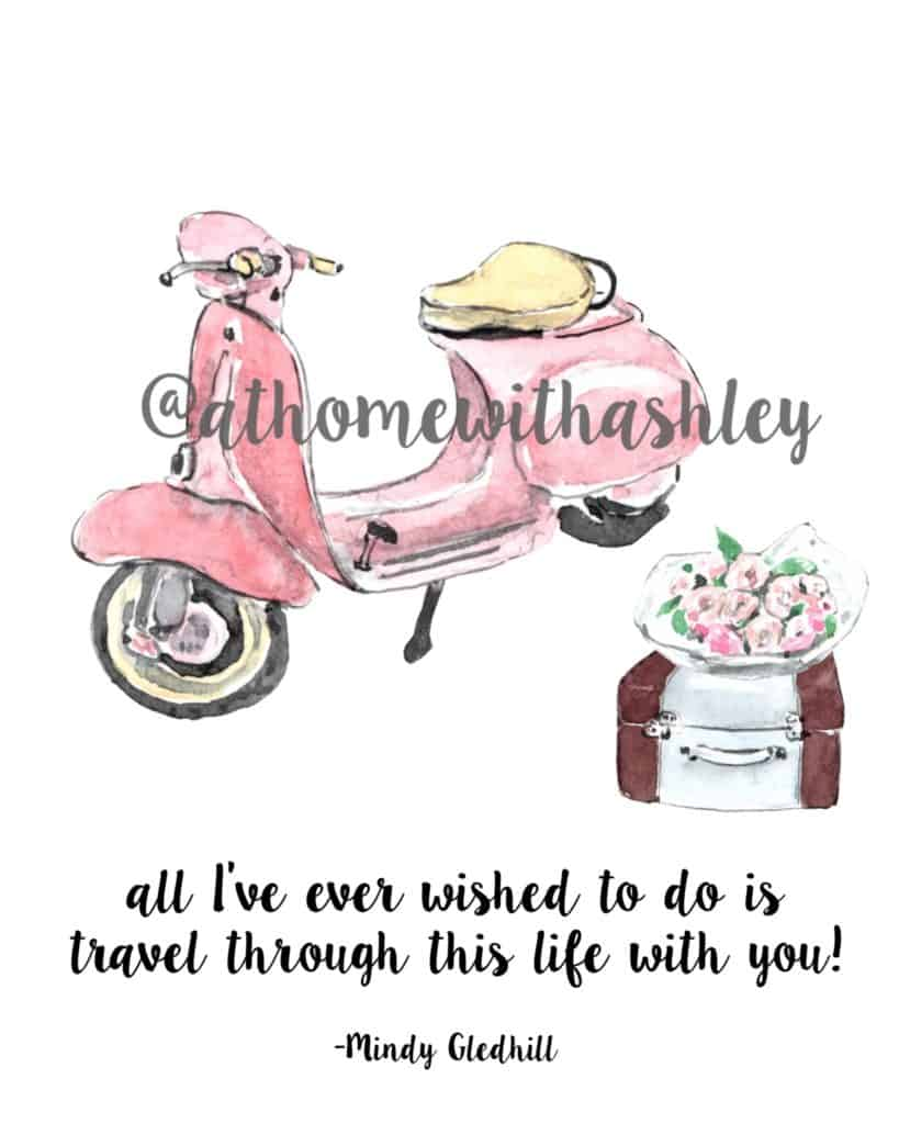 free printable art for your home decor. Travel quote- all I've ever wished to do is travel through this life with you