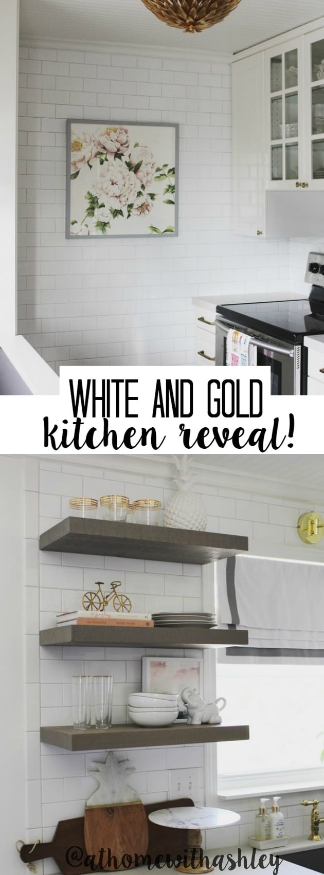 white gold kitchen reveal - at home with Ashley