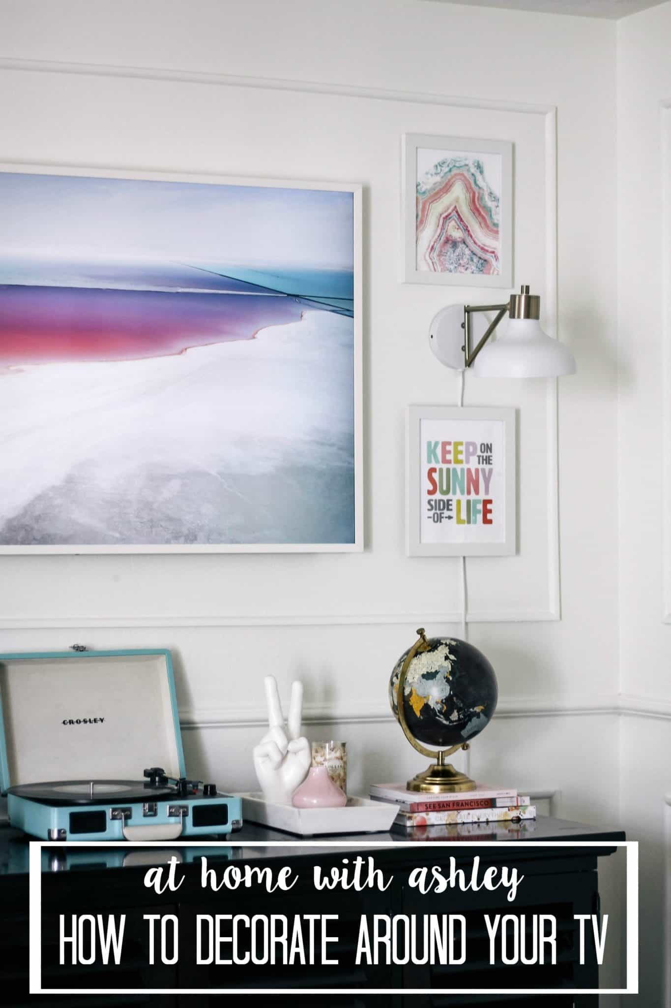 how to design or decorate around the TV to help it blend in better with your decor