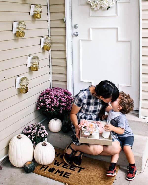 fall front porch with a mason jar DIY!