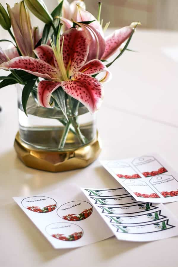 Free printable christmas gift tags at home with ashley free printable gift tags i created three different tags in different shapes i used flowers that bloom in december as my inspiration negle Images