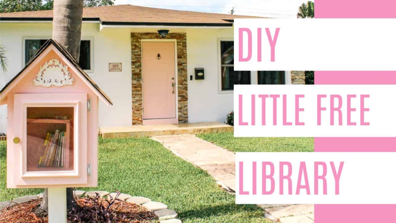 Little Free library plans. Ideas for a DIY book share box. How to build a free little library with an easy design and creative design. Pink paint. How to make a free little library.